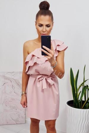 Sukienka hiszpanka na jedno ramię z falbanką pudrowy róż