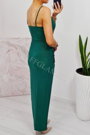 Sukienka długa na ramiączkach maya 2 zielona brokat