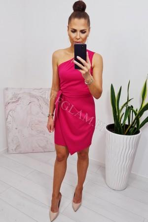 Sukienka dopasowana na jedno ramię carmen malina