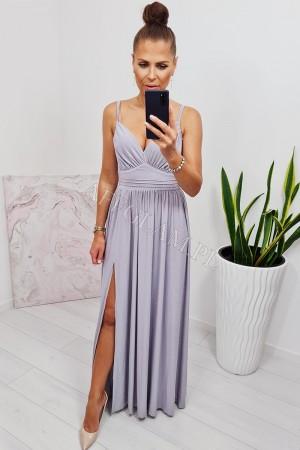 Sukienka długa na ramiączkach virginia srebrna brokat