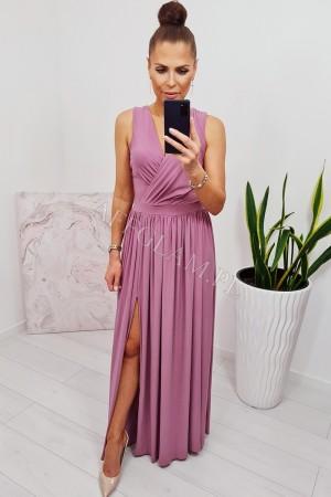 Sukienka długa szyfonowa chloe brokat róż