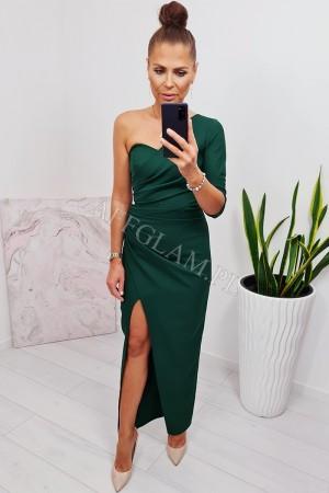 Sukienka długa na jedno ramię bella zieleń butelkowa