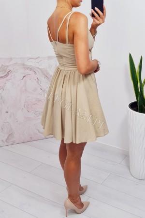 Sukienka rozkloszowana na ramiączkach amanda brokat złota