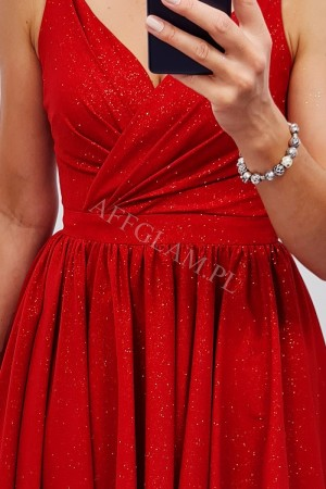 Sukienka rozkloszowana na ramiączkach amanda brokat czerwona