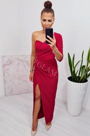 Sukienka długa na jedno ramię bella malina